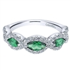 Emerald and diamond ring in 14K white gold.