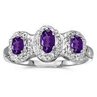 Three stone amethyst and diamond ring in 14K white gold.