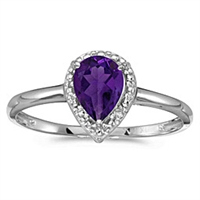 Pear shape amethyst and diamond ring in 14K gold.