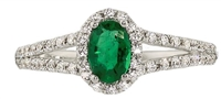 White Gold Emerald/Diamond Ring