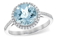 14KW AQUAMARINE ROUND 2.27 WITH HALO RING
