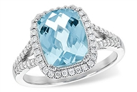 14KW MARCH BIRTHSTONE RING, CENTER STONE AQUAMARINE 2.30CT, HALO OF DIAMONDS AROUND CENTER STONE