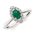 Ladies White Gold Emerald/Diamond Ring