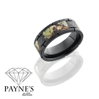 Man's 8mm hammered black zirconium band with camo