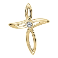 Cross in 10K yellow gold with .02ct tw diamond.