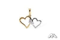 Double heart pendant with diamonds in 14K two tone gold.