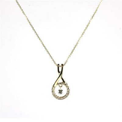 Floating diamond pendant in 14K yellow gold.