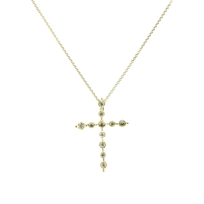 Diamond cross in 14K yellow gold.