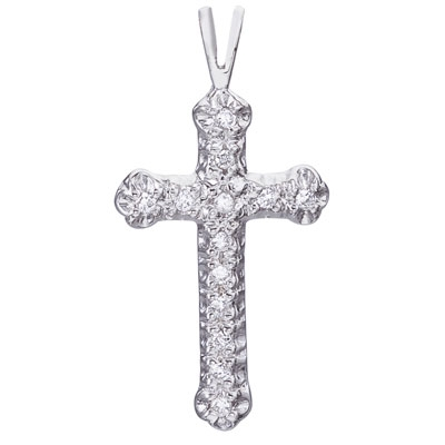 Diamond cross in 14K white gold with .09ct tw diamonds.