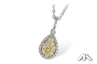Teardrop-shape yellow and white diamond pendant in two tone gold
