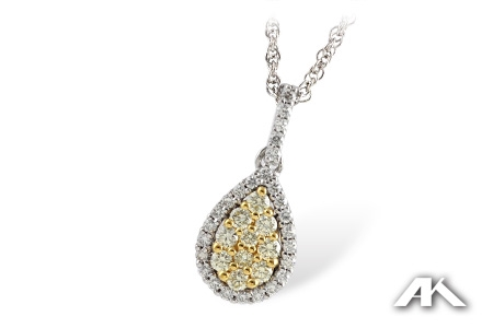 Teardrop shape yellow and white diamond pendant in two tone gold mozeypictures Images