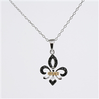 Black diamond Fleu-de-Lis pendant in 14K white.