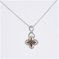 White and brown diamond pendant in 14K white gold.
