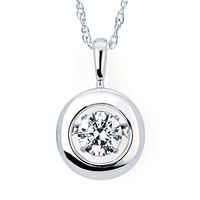 "Shimmering 1/2ct diamond in 14K white pendant suspended on 18"" 14K white gold chain."