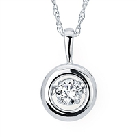 "Shimmering 1/3ct diamond in 14K white pendant suspended on 18"" 14K white gold chain."