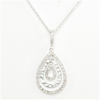 "Teardrop style necklace in 14K white textured and polished gold highlighted with .17ct total weight of diamonds suspended from 18"" cable chain."