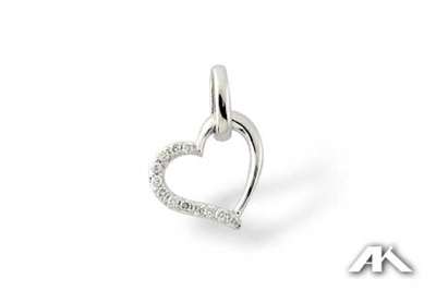 Double heart pendant with diamonds in 14K white gold.