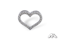 Heart pendant with diamonds in 14K white gold.