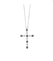 Cognac and White Diamond  pendant in 14K white gold