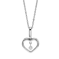 Floating diamond heart pendant in sterling silver.