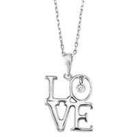 "Floating diamond ""LOVE"" pendant in sterling silver"