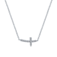 Diamond sideways cross necklace in 14K white gold