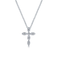 Diamond cross in 14K white gold