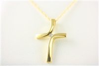 Yellow Gold Bypass Diamond Cross