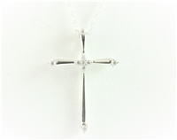 White Gold Cross with Diamond Accents