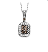 Cognac and White Diamond  pendant in 14K rose gold