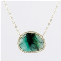Rough cut emerald necklace with diamonds 14K gold