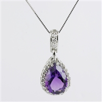 Pear shape amethyst with diamonds  in 14K white gold pendant.