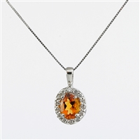 Citrine and diamond pendant in 14K white gold