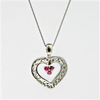 Ruby and diamond heart  pendant in 14k white gold