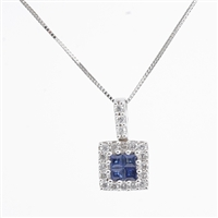 Sapphire and diamond necklace in 14K white gold.