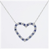 Diamond and sapphire heart pendant in 14K