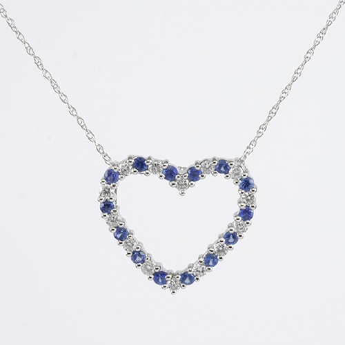 Details about  /14k 14kt Yellow Gold Diamond and Sapphire Heart Flower Pendant