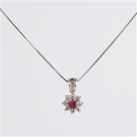 Classic flower shape ruby and diamond pendant