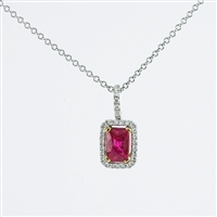 Ruby and diamond pendant in 18K white gold