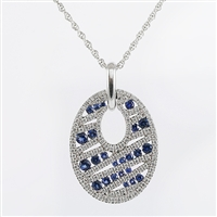 Diamond and sapphire pendant in 14K white gold.