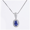 Diamond and sapphire  pendant in 14K