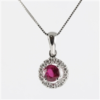 Ruby and diamond pendant in 14K white gold