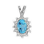 Blue Topaz pendant in 14K white gold.