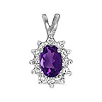 Amethyst and diamond pendant in 14K white gold.