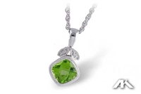 Peridot and diamond necklace in 14K white gold.