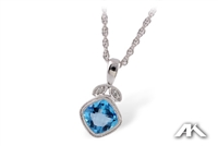 Blue topaz and diamond necklace in 14K white gold.