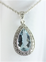 Victorian Style Beautiful Pear Shaped Aquamarine Pendant