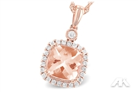 Cushion cut morganite with diamond halo 14KP