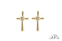 Cross diamond earrings in 14K yellow gold.