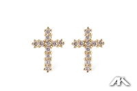 Diamond cross earrings in 14K yellow gold